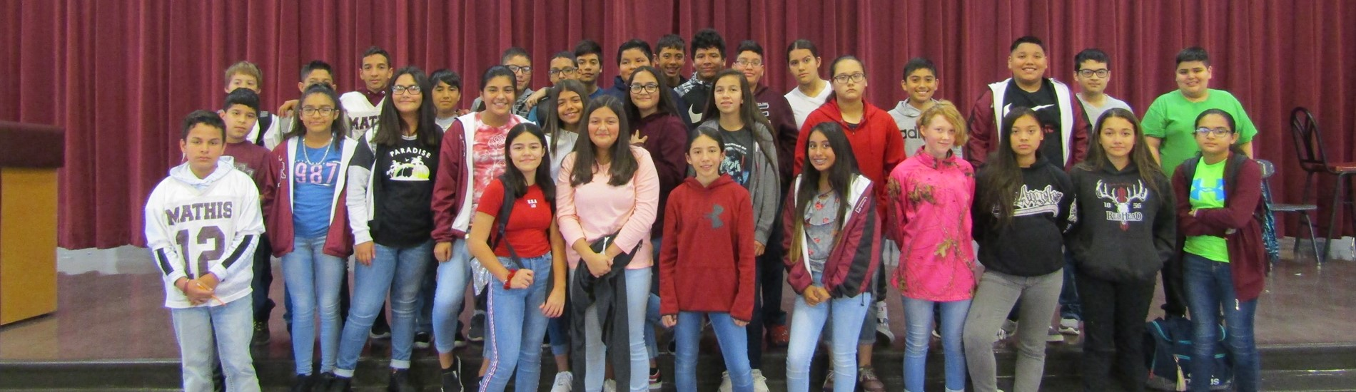 Mathis Middle School 7th Grade A and B Honor Roll Students